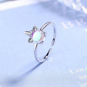 Sterling Silver Moonstone Unicorn Adjustable Ring